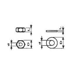 Rondelles cuvettes métal blanc - d 1.25 x D 2.8 x L 0.6mm