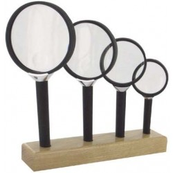 Assortiment de 4 loupes bifocales socle bois